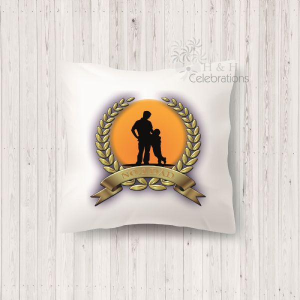 No 1 Dad And Son Laurel Silhouette Personalised Cushion